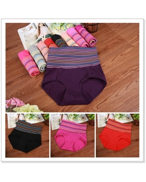 Colour Stripe High Waist Slimming Shaping Panty / Panties / Underwear